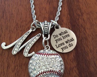 SOFTBALL NECKLACE, BASEBALL Necklace, Softball Jewelry, Baseball Jewelry, Personalized Softball Chain Necklace, Softball Gift Ideas For Her