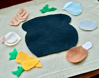 Stone Soup  - Felt Story for the Flannel Board - Educational Toy