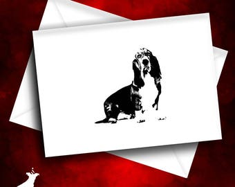 Basset Hound Note Card