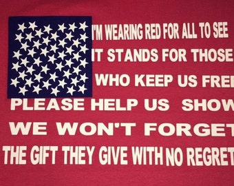 Red Shirt Friday shirt  Support our Deployed Military Troops