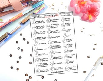 Potty Mouth Migraine Planner Stickers | Perfect for any planner