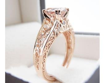 Vintage Engagement Ring 14K Rose Gold Morganite Engagement Ring Vintage Rose Gold Ring