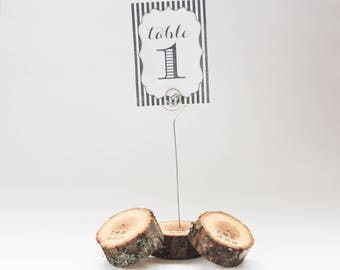 10 personalized rustic wedding table number holder with wire, place card holder, oak wedding table decor,  wedding centerpiece