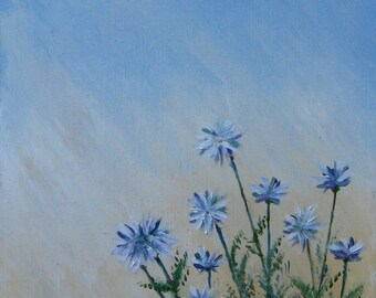Blue flowers, original oil painting, small painting, nature