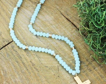 Aqua Beeded Cross Necklace **CLEARANCE**