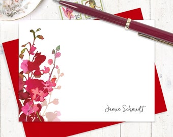 personalized note card set - RED WATERCOLOR ORCHID - set of 12 flat cards - custom stationery - stationary - red flowers - pink flowers