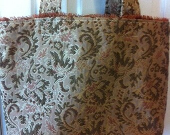 Large Tote Bag of Gold Tapestry