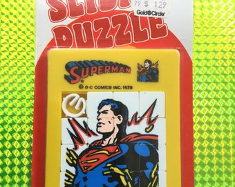 1978 SUPERMAN Sliding Puzzle! New! Factory Sealed & Never Opened! Rare 1970s Vintage Super Brain Teaser Toy Retro Great Gift