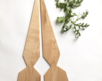 Large Maple Geo Salad Servers - ooak facet recycled hardwood triangle serving utensils