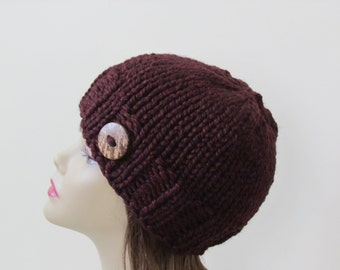 Chunky Knit Hat Knit Hat Winter Hat Women Teens  in Claret with Coconut Shell Button Accent - Ready to Ship - Gift for Her