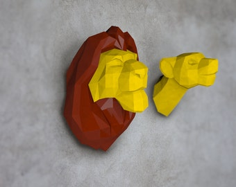Lion Head,Lion paper, Lion lowpoly, Paper Trophy Lion, wall decoration, Printable Mask, Instant Pdf download, Paper Mask, DIY template