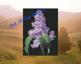 Bead PATTERN Lilac Bloom Tapestry  Loom or Square stitch