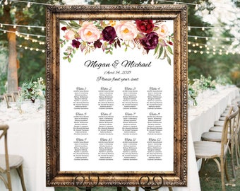 Wedding Seating Chart Template, Boho Chic Floral Wedding Table Plan,  Seating Board, Seating Plan, #A023, INSTANT DOWNLOAD, Editable PDF