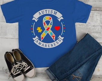 Kids Autism Awareness Shirt Puzzle Ribbon Autism Shirt Heart Support Tee