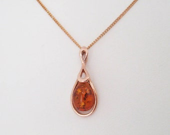 Amber gold pendant necklace on 925 sterling silver 18 k rose