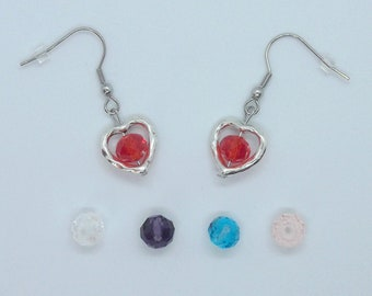 5 colors to choose from, glass earrings heart (HEART), red, clear, purple, blue or pink, earings, Stainless Steel, glass, 5 colors