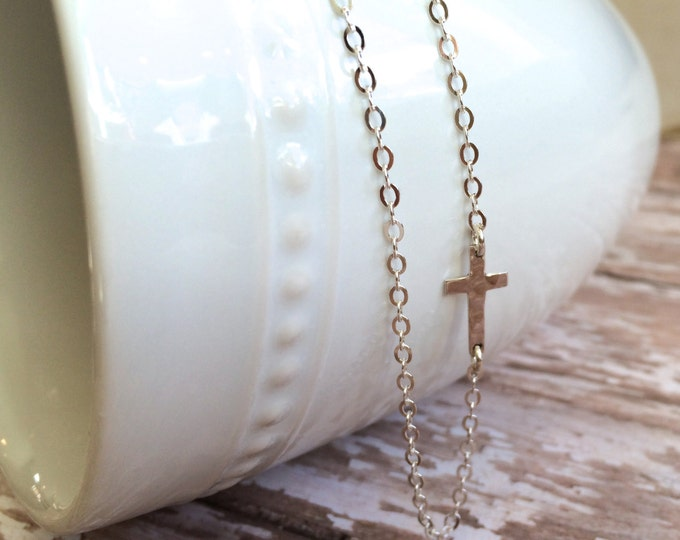 "Tiny Silver Cross Necklace--15"" Sterling Silver Chain--Perfect for Everyday Wear and Layering"