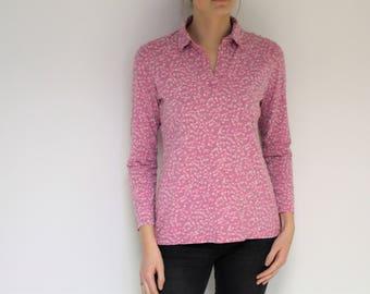 NANSO Tunic Pink Floral Top Cotton Shirt Vintage  Jersey  Tunic Pink White Blouse  Medium to Large