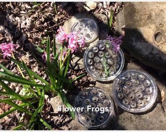 Glass Disc Flower Frogs/Clear Glass Flower Frogs/Vintage Flower Holders/Set of 4 Glass Flower Frogs/Flower Arrangers/ Flower Frog Collectors