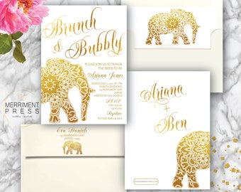 Indian themed Brunch & Bubbly Bridal // Bollywood // Elephant // Paisley // Gold // Mehndi // Brunch with the Bride // JAIPUR COLLECTION