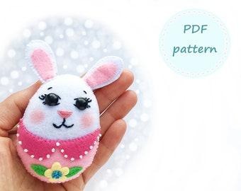 Felt Easter Bunny, Bunny Pattern, Felt Pattern, Felt Bunny Pattern, Easter Pattern, Felt Easter Pattern, Felt Ornament Pattern, Sewing PDF