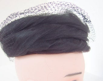 Vintage Black Pillbox Hat with Turban Wrapped Netting, Birdcage Veil and Hatpin
