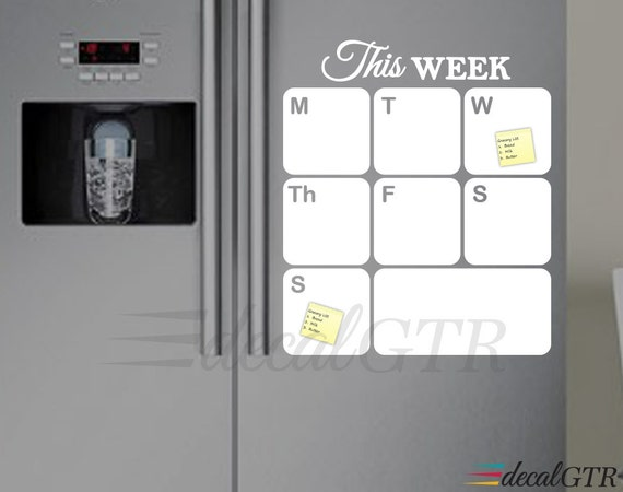 Fridge Calendar Decal Fridge Dry Erase Weekly Planner Decal