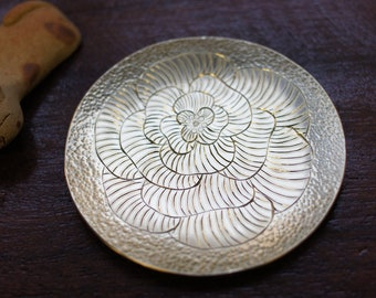 Brass Small dish with Camellia flower