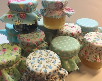 Wedding Favour Fabric Mini Jam Jar Lid Top Covers X 50 Green, Turquoise and pink Jam Pot Covers Fabric Jar Covers Mini Jar Covers with twine