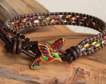 Hummingbird Leather Bracelet Wrap Bracelet Beaded Brown Bracelet Wholesale Beautiful Bracelet Boutique Jewelry Boho Bohemian Yevga