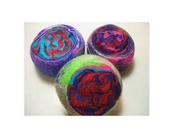 Original Large Multi-Color Ewesful Felted Wool Pincushion Pin Cushion
