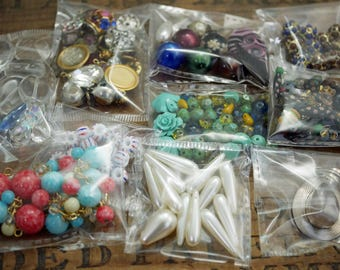 Mixed Lot of Vintage Jewlery Making Supplies and Components Odds and Ends Lot Beads Pendants Rhinestone Links