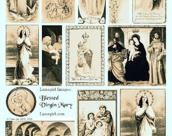 VIRGIN MARY Sepia digital collage sheet, vintage Holy Cards religious art Victorian cards antique Madonna paintings images ephemera DOWNLOAD