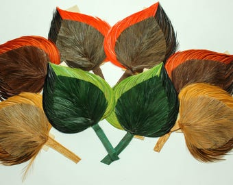 1920s Vintage feather leaf shaped millinery hat trims made in France, 3360
