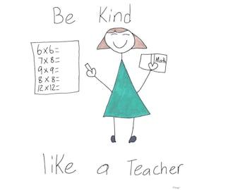 Izzy's T-Shirts for Kindness - Be Kind Like a Teacher (Female)