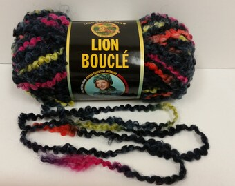 1 Skein Lion Brand Lion Boucle' Yarn, color Licorice, Lot 31678, 2.5oz/70g, 57yds/52m
