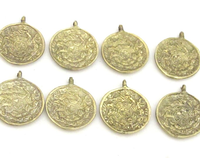 6 Pendants - Small size Tibetan Om and calendar  timeline wheel Solid Brass charm pendant - CP019s custom design copyright Nepalbeadshop