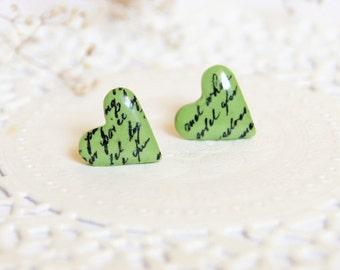 Romantic earrings for girlfriend gift heart earrings Best friends jewelry girlfriend earrings for her green earrings tiny jewelry gift wife
