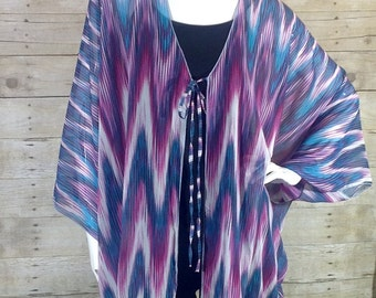 Purple and Blue Print Chiffon Poncho top O/S