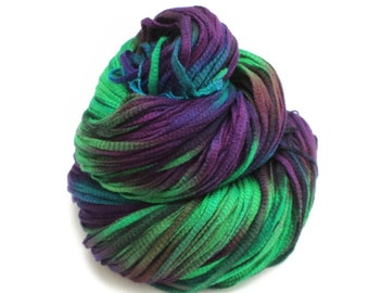 Daliah, Hand Dyed, Hand Painted, Ribbon, Yarn, Green, Blue, Purple