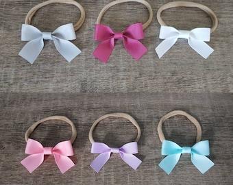 Single Ribbon Baby Headband - Baby Bow Headbands - Nylon Headband - Baby Girl Bow - Baby Hair Bow - Newborn Headband - Ribbon Bow