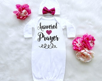 Answered Prayer Baby Newborn Outfit. Going Home From Hospital Baby Outfit. Answered Prayer Baby Outfit. Newborn Baby Girl Outfit.