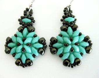 Beaded Earrings / Superduo Earrings / Seed Bead Earrings in Turquoise and  Brown  / Sterling Silver Earrings  / Beadwoven Earrings