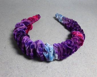 "Velvet Headband ""Purple Blend"", Hand Painted Silk/Rayon Burnout Velvet Headband"