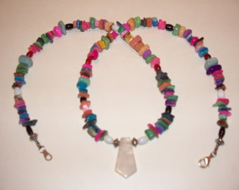 Genuine dyed shell and gemstone necklace,Designed and crafted by Lynn Marie.