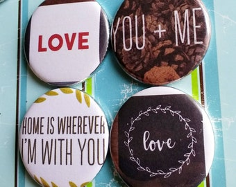 Love Magnets, housewarming gift, home, us, couple, you and me, set of four one of a kind