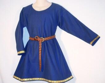 Sz 12/14 Boy's Medieval Cotton Tunic w/ Jacquard Trim SCA Larp