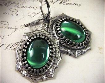 Renaissance Earrings, Green Jewel, Borgias, Tudor Wedding, Medieval Earrings, SCA, Costume, Ren Faire, Garb, Your Choice of Color and Finish