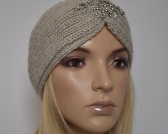 Knit Headband Head Wrap Winter Ear Warmer Wheat with Sparkle Bead Applique