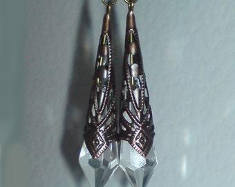 Gothic Bronze Teardrop Earrings , Clear Earrings , Steampunk Earrings , Bronze Earrings , Handmade Jewelry , Burlesque , Victorian , Gift